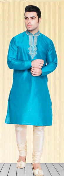 Sky Blue Pure Silk Mens Long Kurta Pajama Set