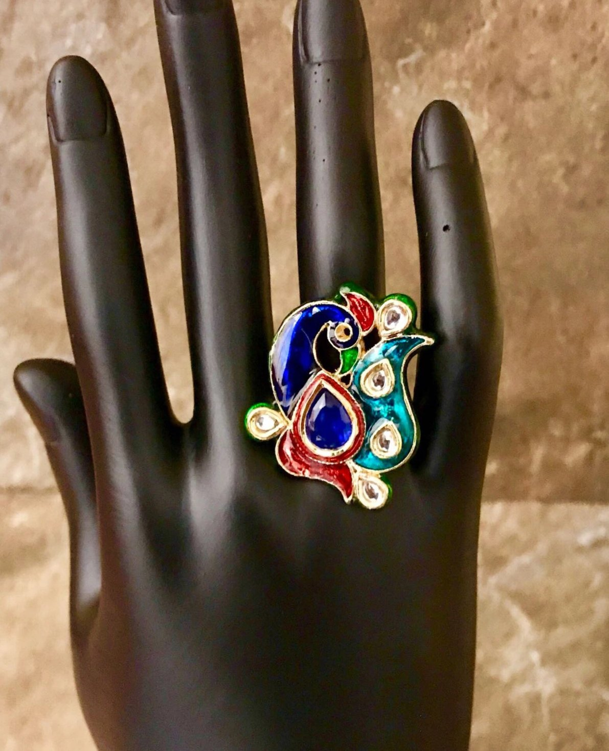 Adjustable Hand Painted Enamel Peacock Shaped Kundan Ring