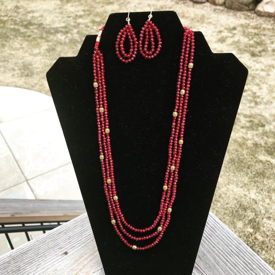 3 Layer Maroon Garnet Necklace with Golden Beads with Matching Earrings