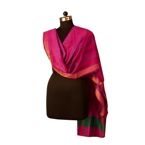 Handwoven Tussar Silk Dupatta in Magenta and Purple Striped Pattern & Gold Border