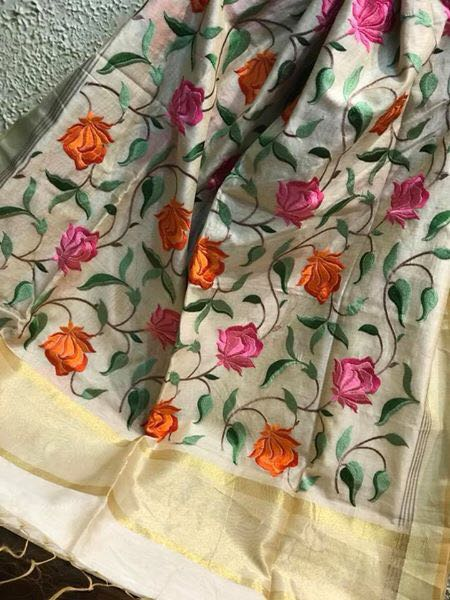 Off White and Light Grey Parsi Saree with Kashmiri work