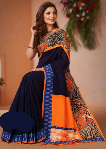 BLUE HANDLOOM COTTON SAREE WITH HAND PAINTED MADHUBANI WORK & IKAT BORDER