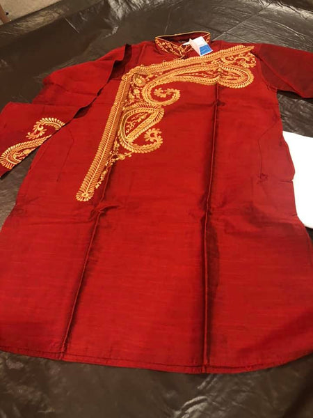 Boys Maroon and Beige Dupion Silk Embroidered Kurta and White Pajama Set