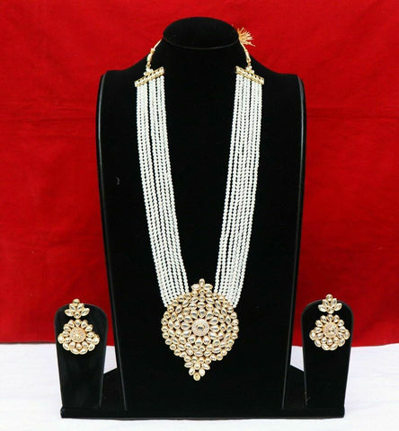 Gold Tone Kundan Pearl Necklce Pendant Earrings in 10 Layer with Earrings