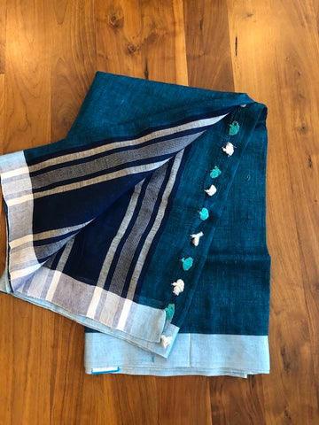 100 Count Super Soft Linen Saree in Electric Blue with Deep Navy Blue and Silver designed Aachal with Tassels with Silver Blue Border