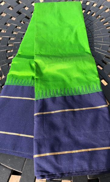 Classic Temple Deep Green Raw Silk Saree with Navy Blue Border and Aachal with Golden Stripe
