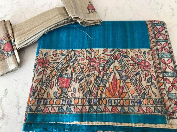 Teal Blue Pure Tussar Dyed Handpainted Mandhubhani Silk Saree
