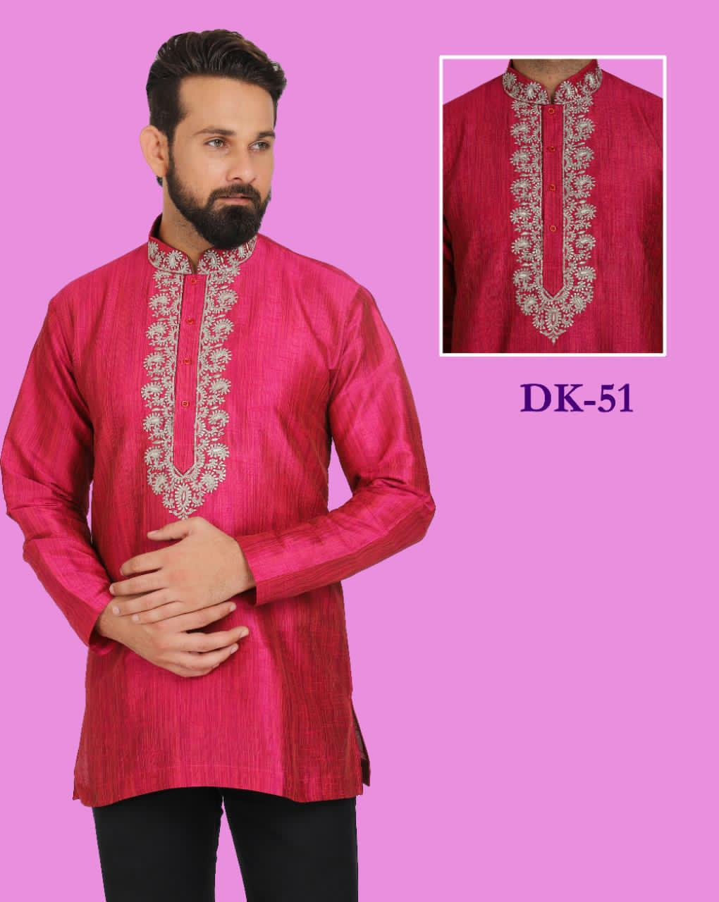 Deep Pink Colored Embroidered Silk Mens Short Kurta