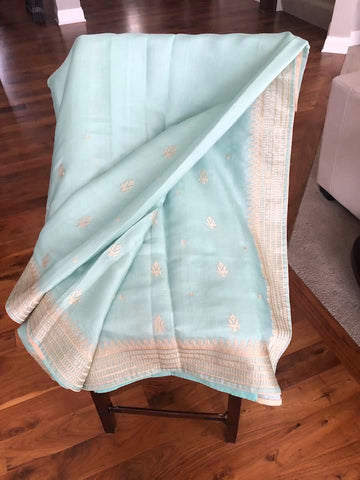 Pastel Green & Beige Kashmiri Embroidered Saree on Handloom Silk with Beige Butti's