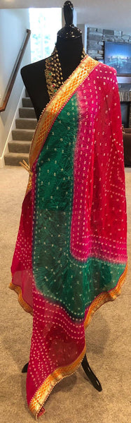 Multicolor Silk Bandej Dupatta with Latkans