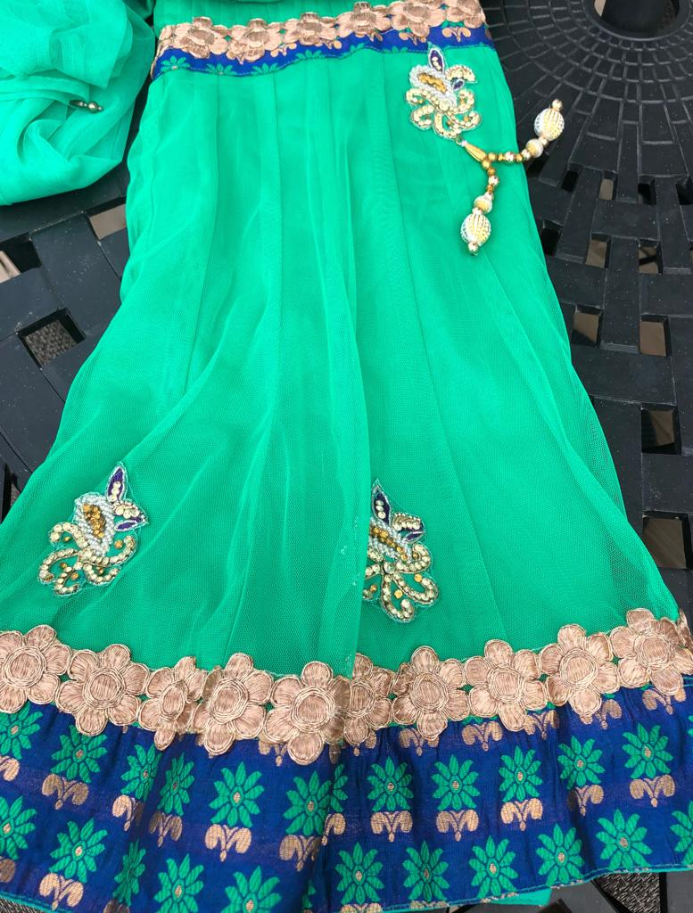 Girls Toddler Green Net Lehenga Choli with Dupatta