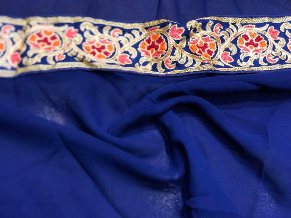 Royal Blue Soft Georgette Chiffon Saree with all over Thread Embroidery Work