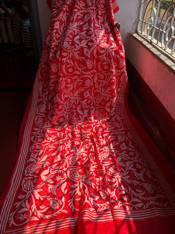 Red and White Pure Bangalore Silk Kantha Stitched Saree