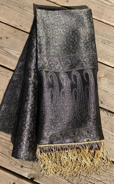 Pure Silk Banarasi Black and Gold Dupatta/Stole with Golden Tassels on the Bottom