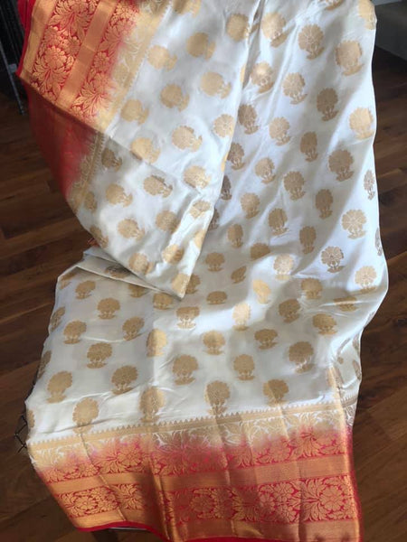 Red and White Banarasi Brocade Blended Silk Saree