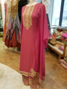 Chiffon Coral Pink Suit with Dupatta with Golden Zari Work