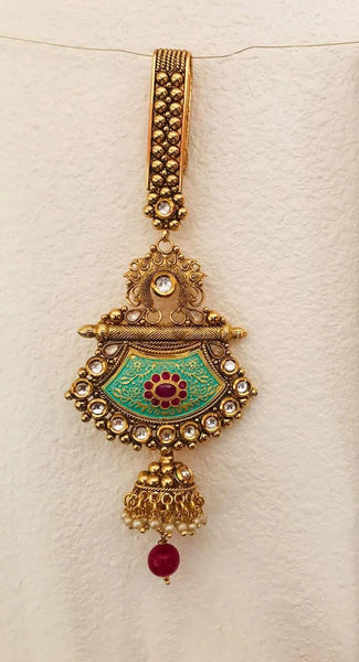 Gold Plated Green Colored Saree Waist Key Chain