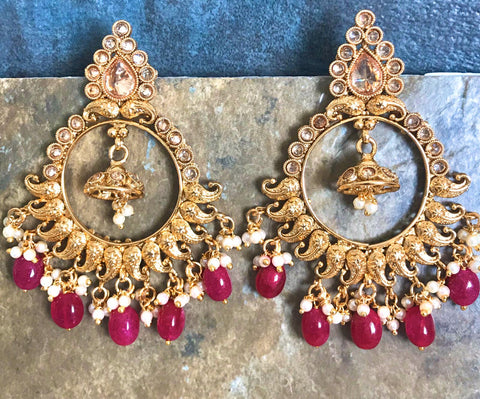 Kundan Pearl Earrings with White & Red Beads
