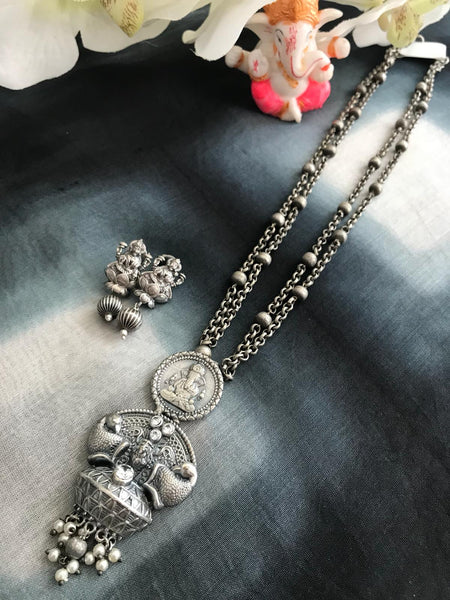 Long Ganesh German Silver Necklace Set with Laxmi Earrings