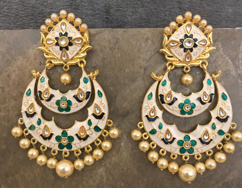 Designer Cream & Green Hand Painted Kundan Earrings with Pearls