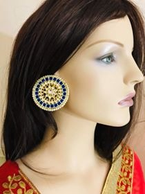 Blue Colored Round Shaped Earrings