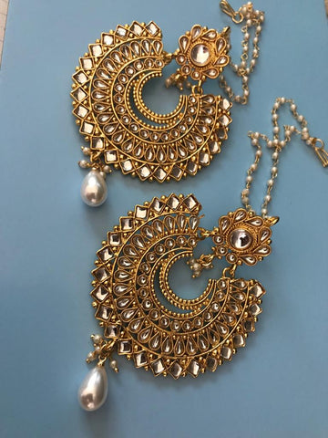 Gold Plated Big Chandbali Kundan Earrings