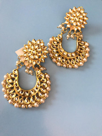 Gold Plated Big Chandbali Kundan Dangler Earrings