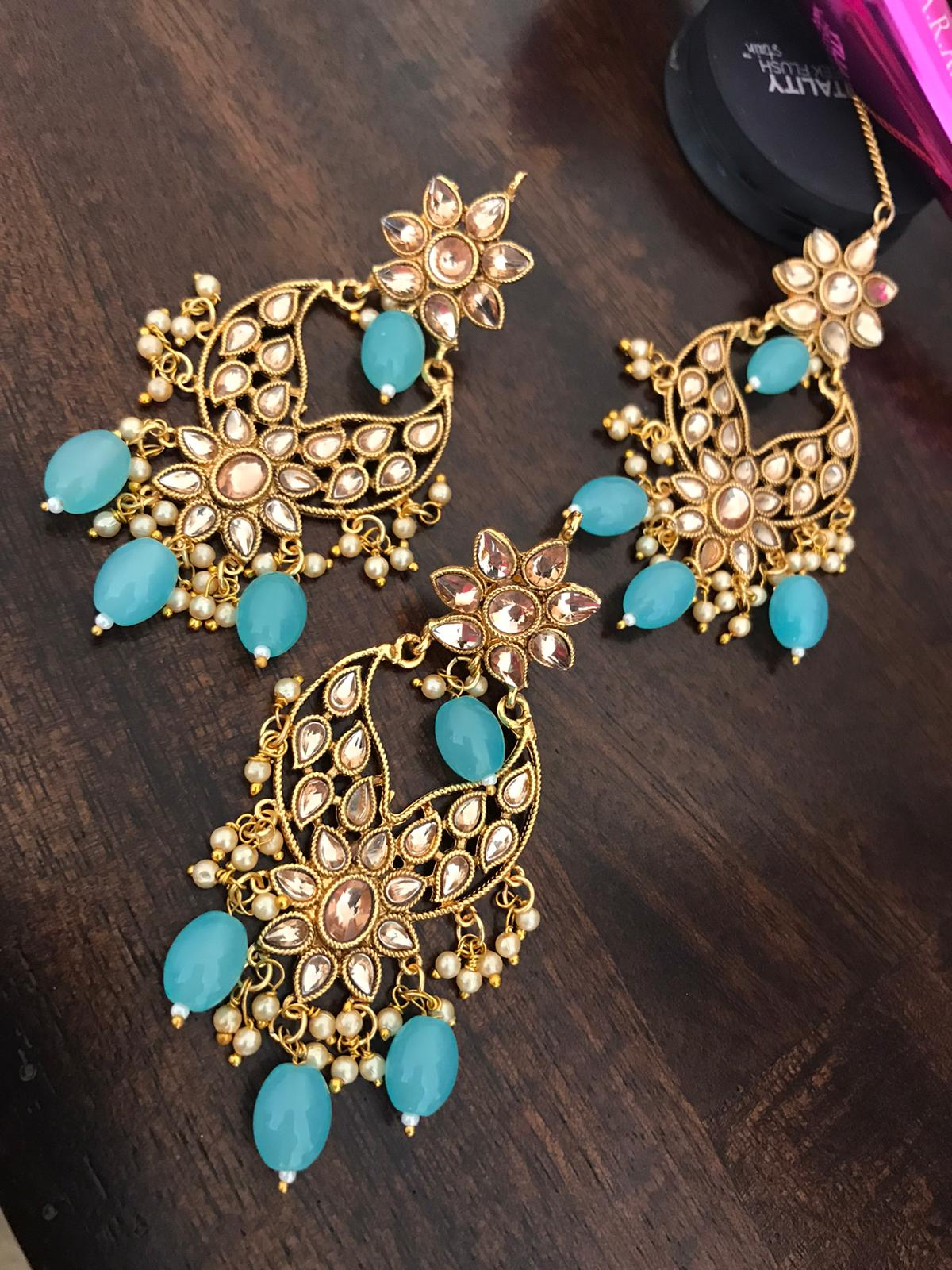 Golden Kundan Earring & Maang Tika with Off White & Blue Beads