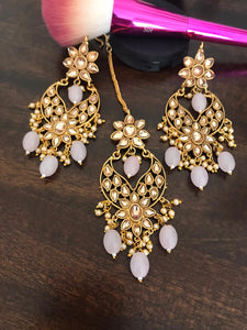 Golden Kundan Earrning & Maang Tika with Pink & Off White Beads.