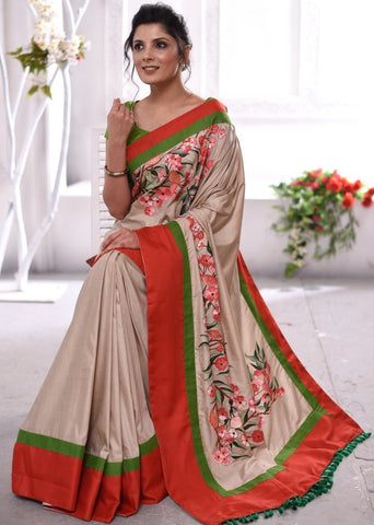 EXCLUSIVE HAND PAINTED SEMI SILK SAREE WITH FLORAL MOTIFS