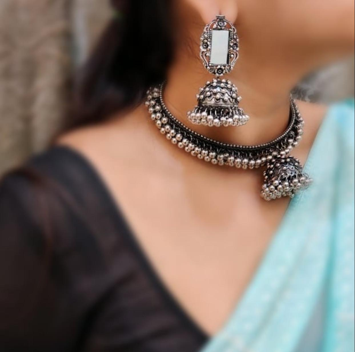 German Silver Choker Necklace Set With Matching Jhumki Earrings