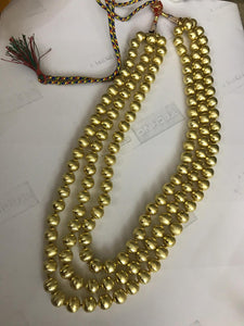 3 Layered Golden Color Pearl Studded Long Necklace