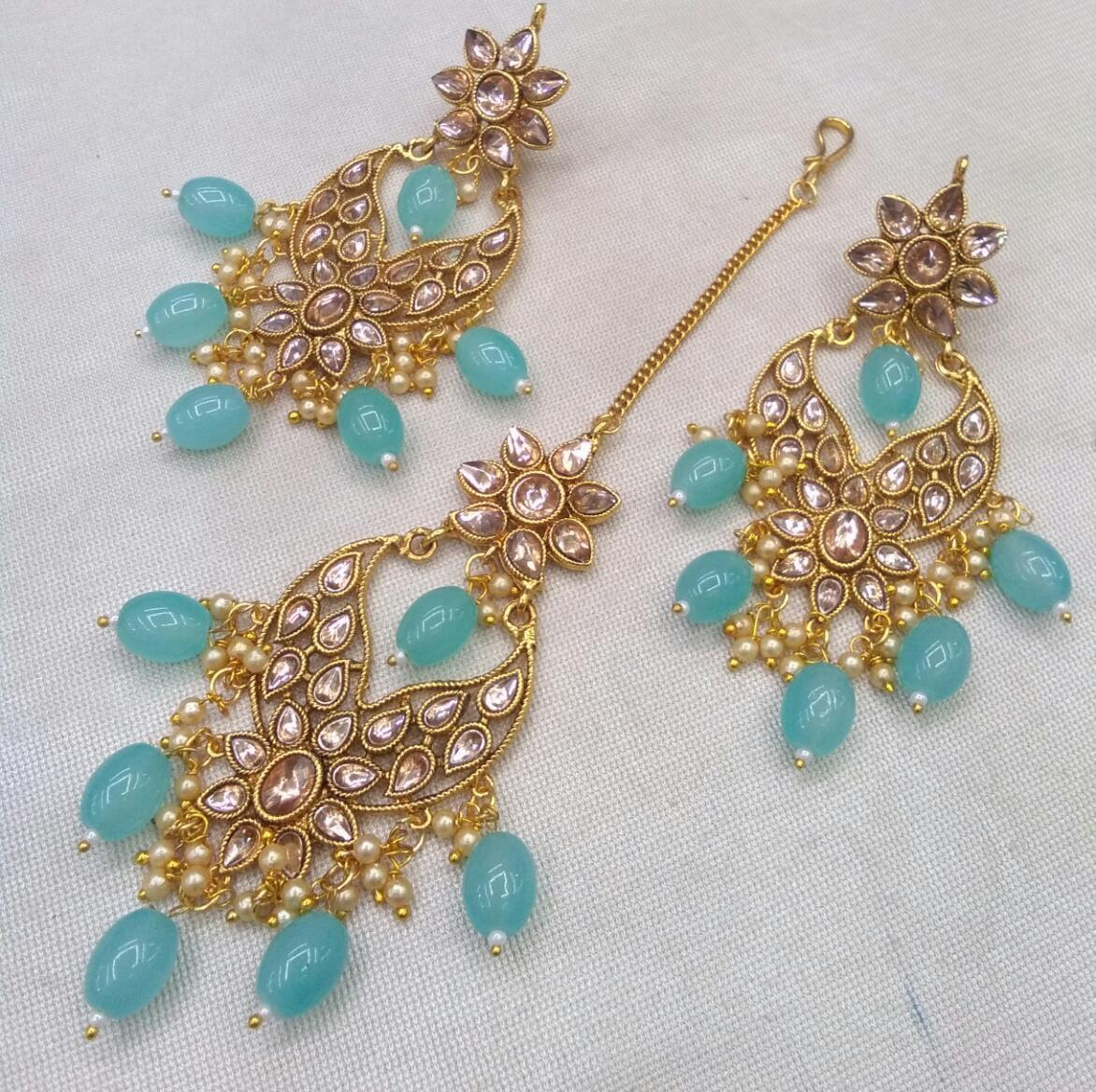 3 Piece Kundan Maang Ka Tika and Earring Set With Blue Beads