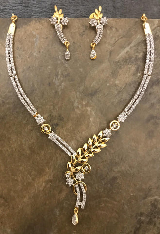 Designer AD Necklace Set with Matching Earrings