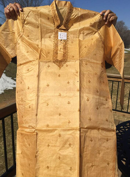 Authentic Men's Bengali Tussar Kurta Pajama Set in Tussar Color
