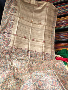Pure Tussar Silk Handpainted Madhubhani Saree