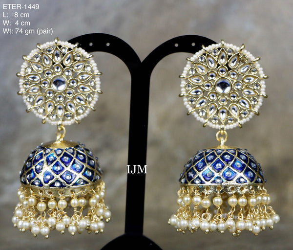 Blue Hand Painted Kundan Pearl Polki Jhumki Earrings