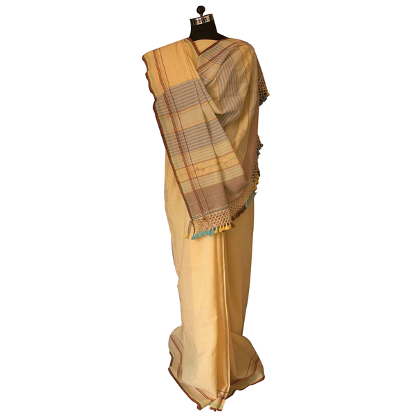 Pale Yellow Handwoven Organic Cotton Saree From Kutchh