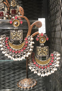 Antique Earrings with Intricate Peacock Design with Semi Precious Stones