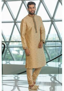Classic Beige Colored Silk Jacquard Kurta