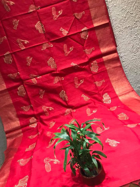 Embroidered Red & Gold Colored Tussar Silk Saree