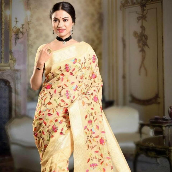 Gold Colored Soft Maheshwari Parsi Saree with all over Kashmiri work