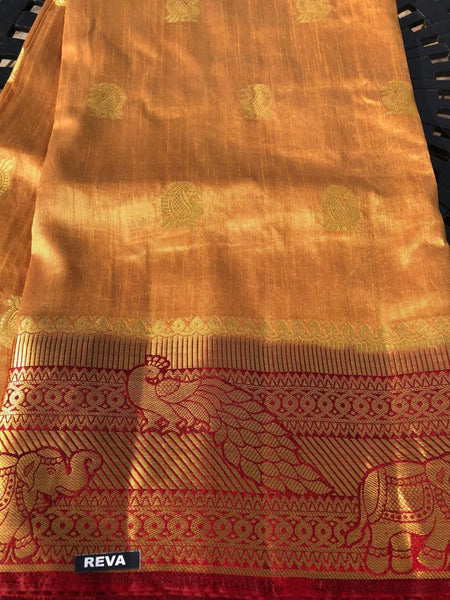 Super Soft and Lightweight Golden Handloom Silk Saree with Maroon Border and Aachal