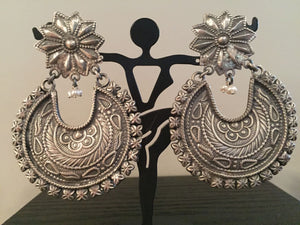 Pure 92.5 Sterling Silver Chandbali  Flower Style Jhumki Earrings