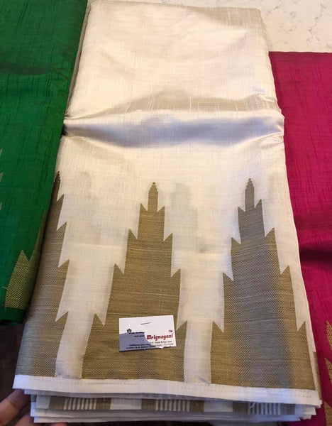 Pure Beige and Gold Handloom Tussar Silk with Modern Golden Temple Border Saree