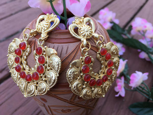 Beautiful Antique MeenaKari Earrings With Red Stones