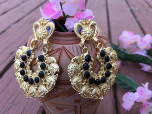 Beautiful Antique MeenaKari Earrings With Black Stones