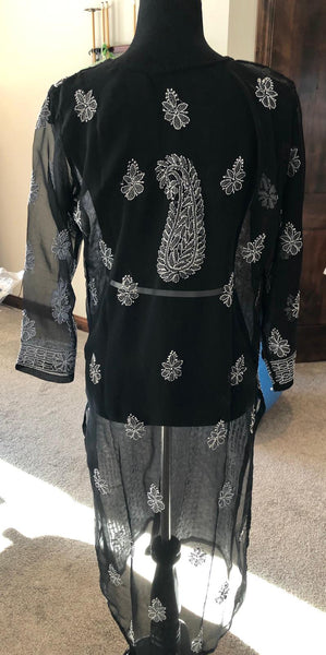 Black and White Long Pure Handwoven Lucknow Chiffon Kurti