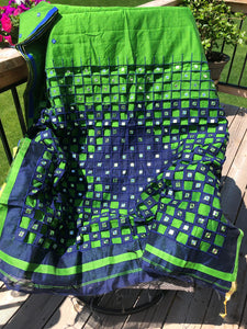 Parrot Green and Blue Handloom Cut Work Silk Blended Saree with Mirror Work