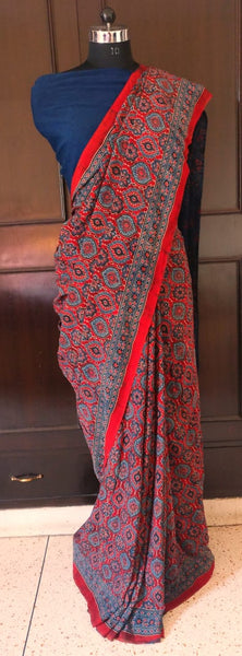 Indigo & Rust Floral Patterned Ajrakh Saree on Modal Silk